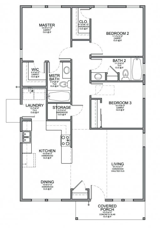 Amazing Decoration: Simple 3 Bedroom House Plans Floor Plan For A Small Sf Simple 3 Bedroom Flat Plan Picture