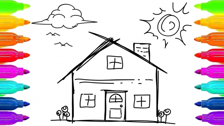 Amazing House For Kids Drawing At Getdrawings   Free For Personal Use How To Draw Home For Kids Picture