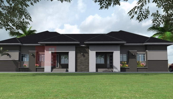 Amazing Nigerian Residential Architecture Bedroom Semi Detached Bungalow Semi Detach Bungalow Plan And Elevation Pic