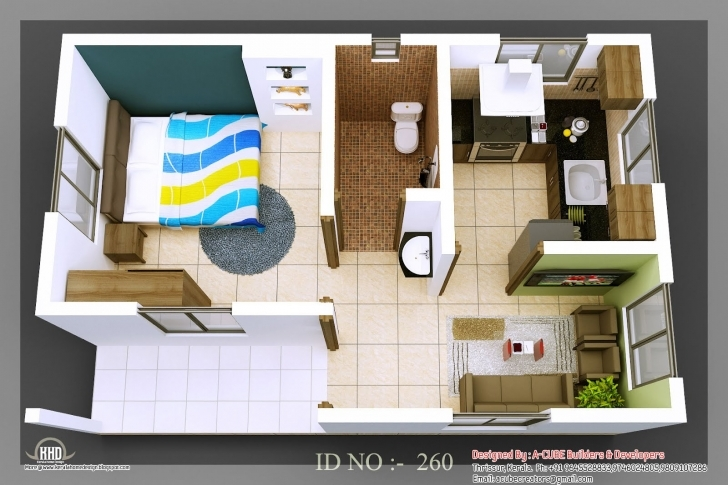Amazing Single Bedroom House Plans Indian Style Tiny Homes | 3D Isometric Small House Plans Indian Style 3D Picture