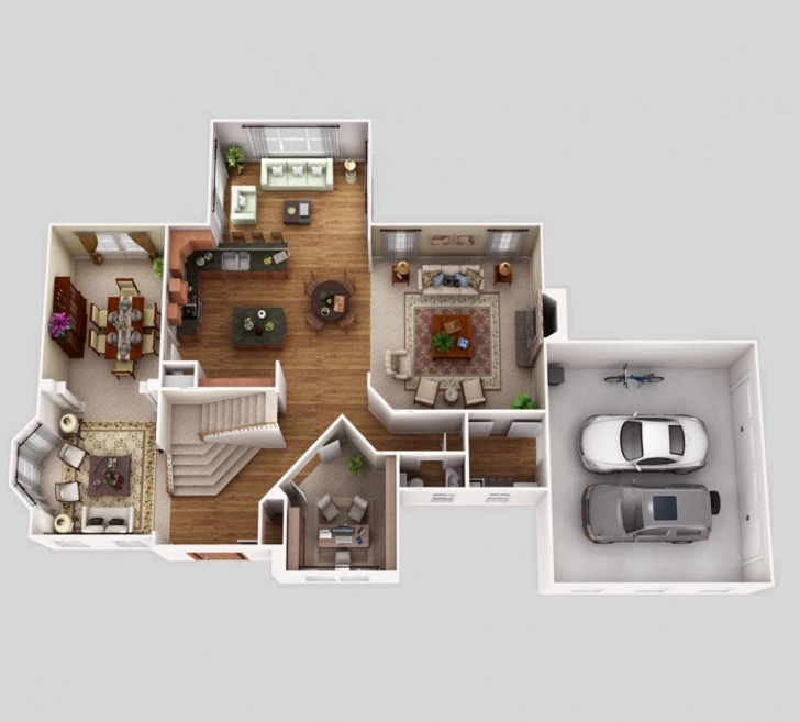 Astonishing 3D Pictures4Bedroomsofficesitting Room And Dinning Room Ultra Modern 4 Bedroom 2 Storey House Plans 3D Picture