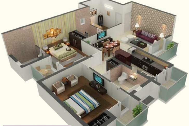 Astonishing Awesome 1000 Sq Ft House Plans 2 Bedroom Indian Style — House Style 1000 Sq Ft House Plans Indian Style 3D Image