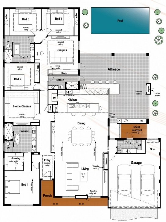 Astonishing Floor Plan Friday: 4 Bedroom, 3 Bathroom With Modern Skillion Roof Modern Four Bedroom House Plans Image