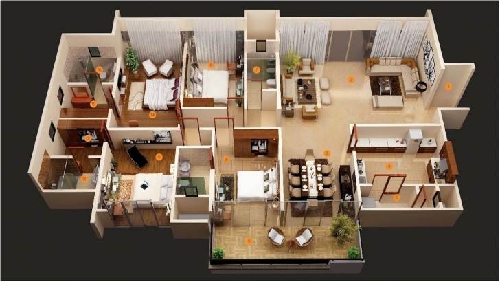 Astonishing Incredible Charming 4 Bedroom Apartment/house Plans – Three Bedroom Four Bedroom Flat Design Picture