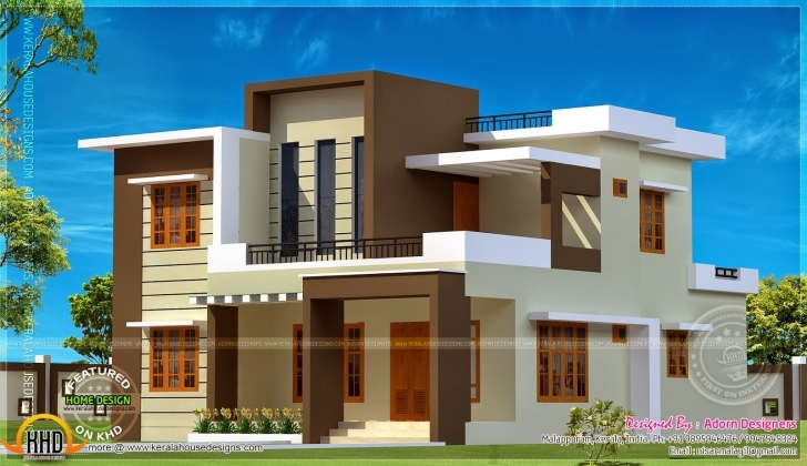 Astonishing Square Meter Flat Roof House Kerala Home Design Floor Plans - House Simple Flat Modern House Pic