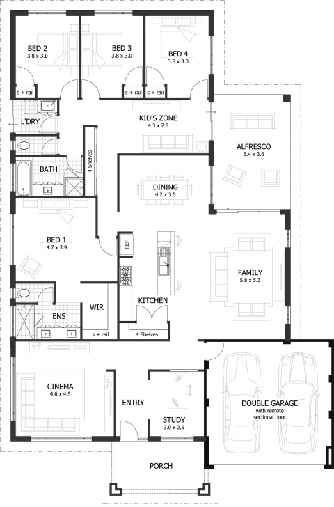 Awesome 4 Bedroom House Plans & Home Designs   Celebration Homes Simple Four Bedroom House Plans With A Verandah Pic