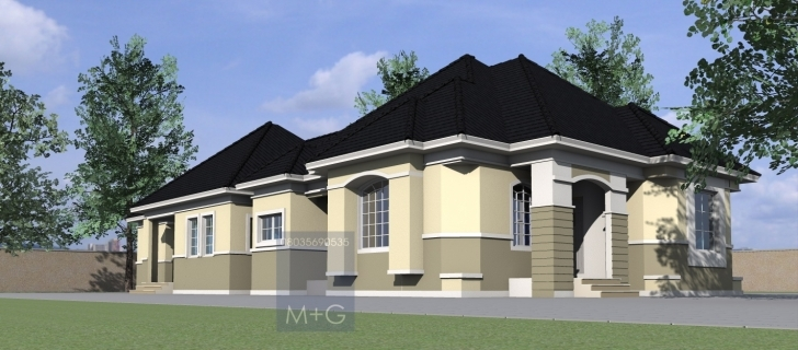 Awesome Contemporary Nigerian Residential Architecture: 4 Bedroom Bungalow Plans For Twins Two Bedroom Flat Picture