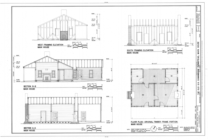 Awesome House Plan File:floor Plan Of Original Timber Frame Portion, South Plan Elevation Section Of Residential Building Ppt Image