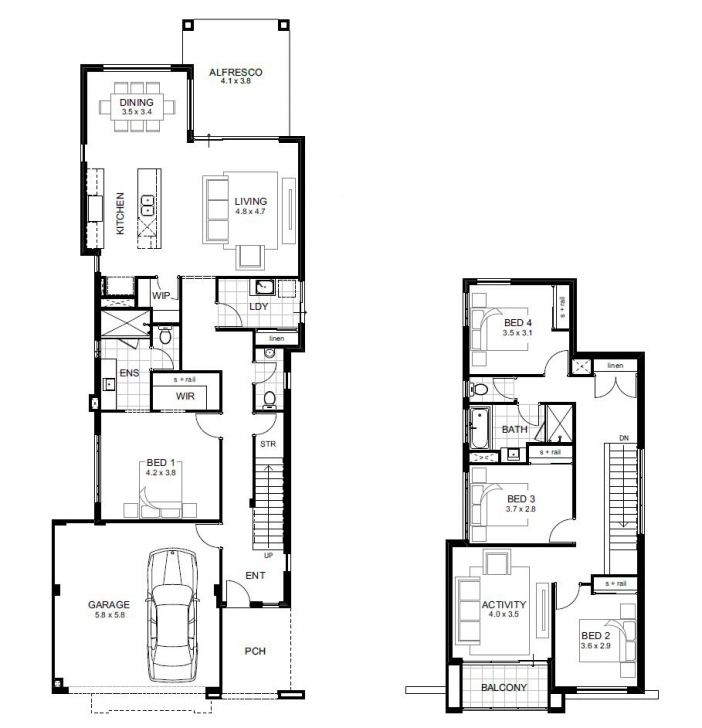 Awesome Narrow Lot Double Storey House Designs Perth | Apg Homes Double Storey House Plans For Narrow Blocks Image