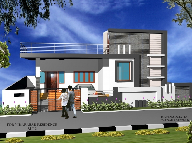 Awesome Residence View Done In 3Dmax Single Storey Elevation Concept House Front Elevation Designs For Single Floor North Facing Image