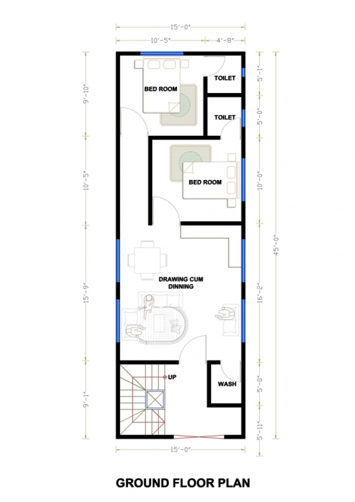 Best 15 By 45 House Plan - House Design Plans 15*45 House Map Photo
