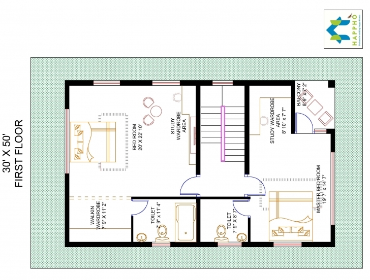 Best 3-Bhk Floor Plan For 30 X 50 Plot (1500 Square Feet/166 Squareyards 30*50 House Plan 3Bhk Picture