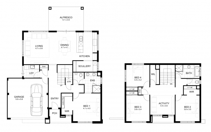 Best Double Storey 4 Bedroom House Designs Perth | Apg Homes Simple Double Storey Plans Photo