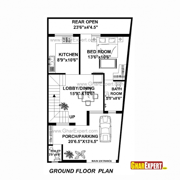 Best House Plan For 22 Feet By 42 Feet Plot (Plot Size 103 Square Yards 22X45 Plan 2D Pic