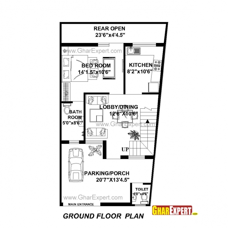Best House Plan For 22 Feet By 42 Feet Plot (Plot Size 103 Square Yards 23× 45 House Map Picture