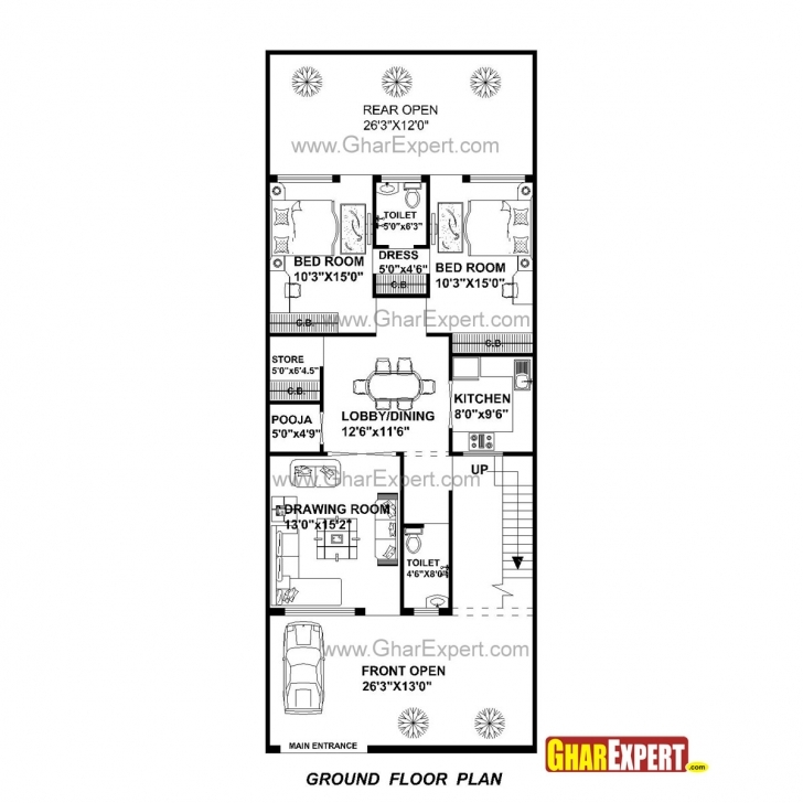 Best House Plan For 27 Feet By 70 Feet Plot (Plot Size 210 Square Yards House Plan Drawing 17*45 Image