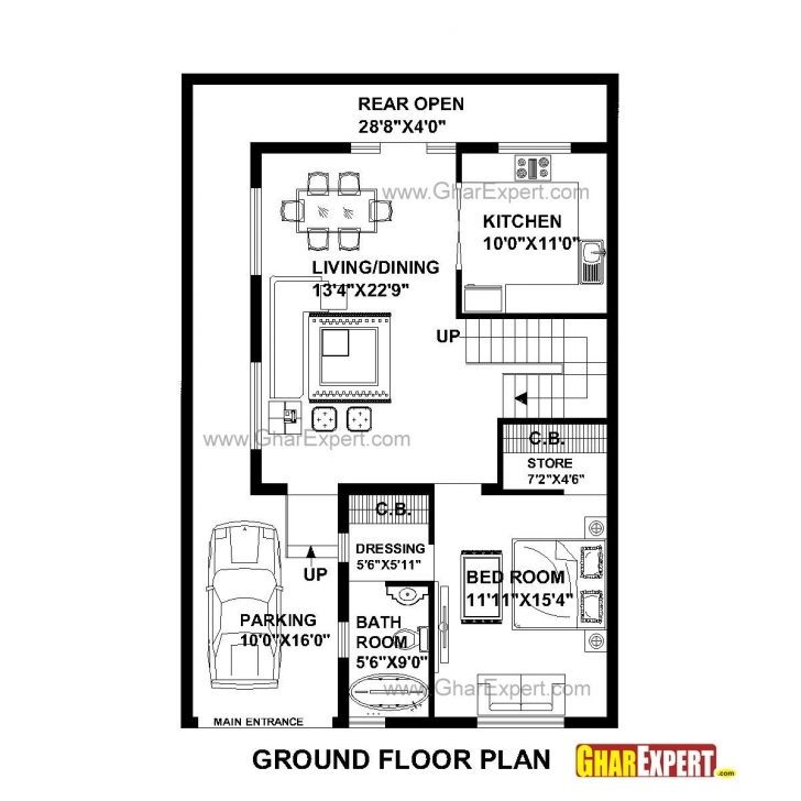 Best House Plan For 30 Feet By 45 Feet Plot (Plot Size 150 Square Yards 28*60 House Plan Image