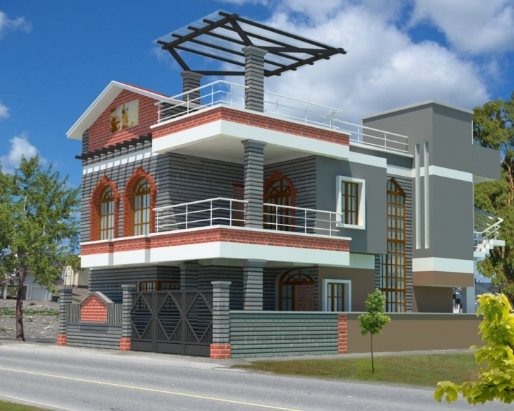 Best Modern Natural 3D Contemporary House Design With Simple Design Of 3D Images Of House Plans Inside And Outside Image