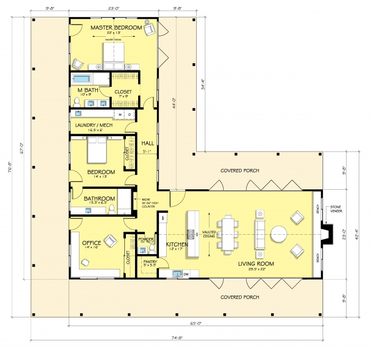 Best Ranch Style House Plan - 2 Beds 2.50 Baths 2507 Sq/ft Plan #888-5 L Shaped House Plans With Courtyard Picture