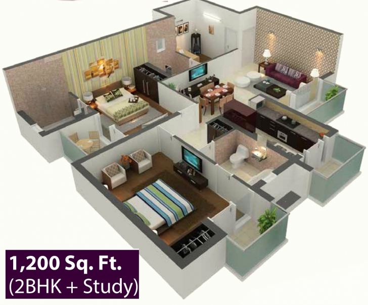 Best Sunshiny Square Feet Apartment Delightful Square Foot Apartment 3D Luxery House Plan1200 Sq Ft Picture