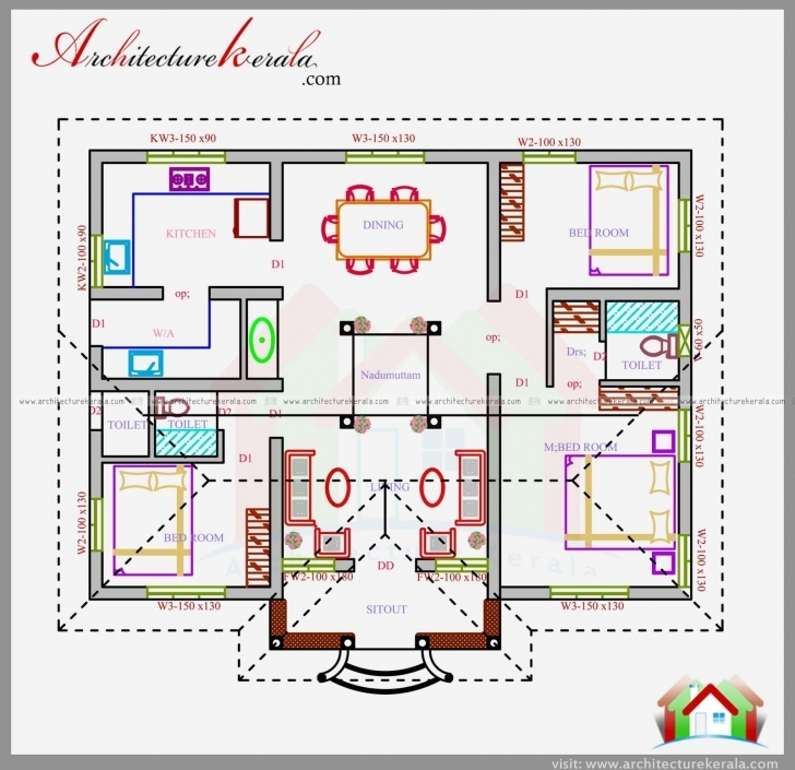 Best Three Bedrooms In 1200 Square Feet Kerala House Plan | House Three Bedroom House Plans Kerala Style Pic