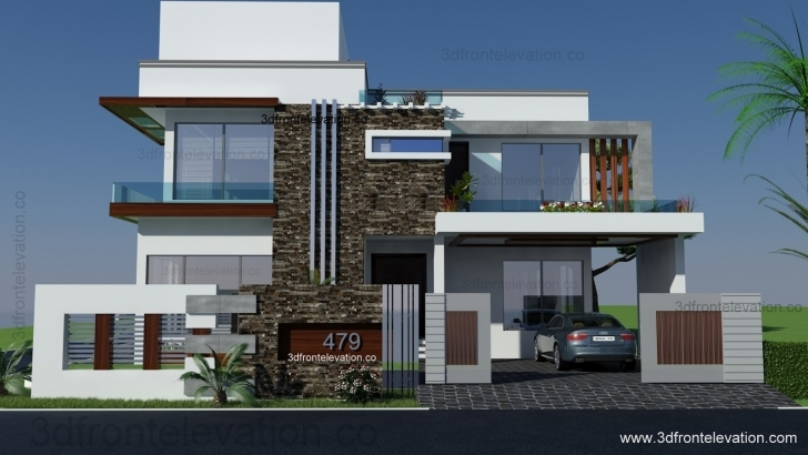 Brilliant 500 Square Yards House Plan- 3D Front Elevation- Design- 479-Tulip 3D Front Elevation Of House Picture