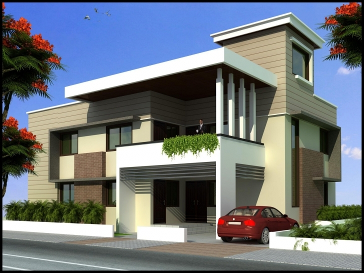 Brilliant Beautiful Flat Roof Home Design Scrappy - Building Plans Online   #9464 Front Elevation Of Houses Architecture Pic