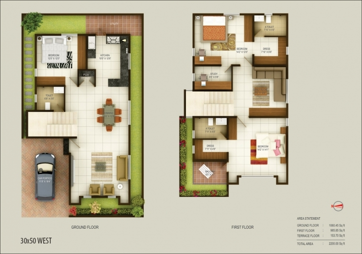 Brilliant Bedroom : North Facing House Plans In X Site Duplex West South Car 50*30 North Facing House Plans Picture