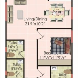 20 X 60 West Facing House Plans