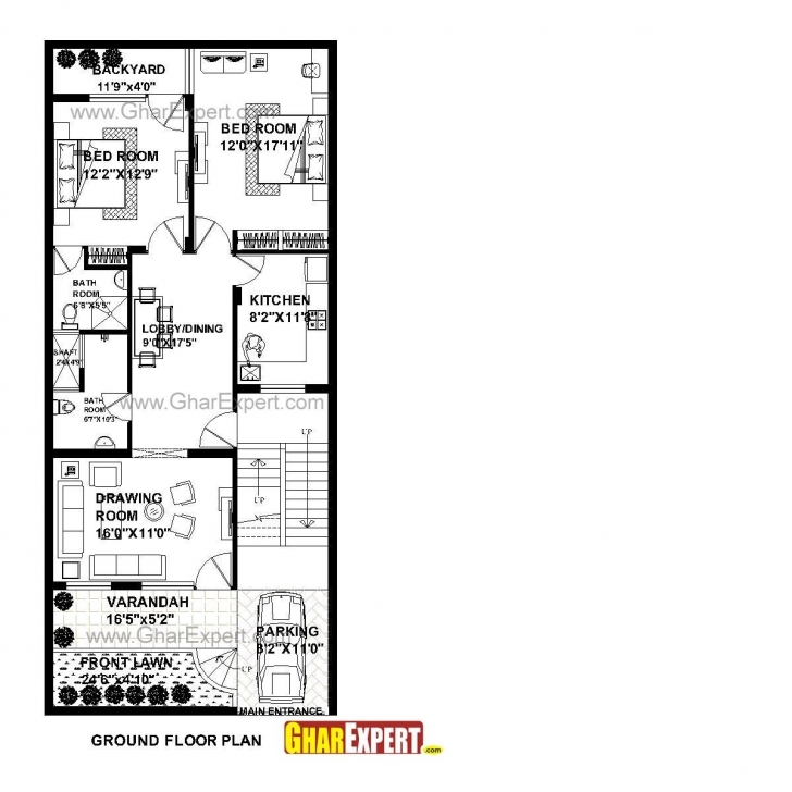 Brilliant House Plan For 26 Feet By 60 Feet Plot (Plot Size 173 Square Yards House Plan For 24 Feet By 60 Feet Plot Image