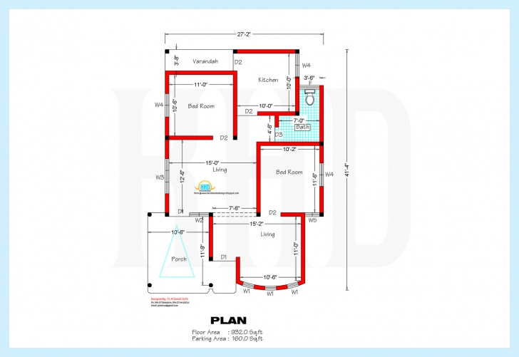 Classy 1000 Sq Ft House Plans 3 Bedroom Indian Style — Modern House Plan House Plan For 15 Ft By 45 Ft Image