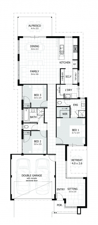 Classy 3 Bedroom House Plans & Home Designs   Celebration Homes 3Bedroom House Design On A Plot Of Land Pic