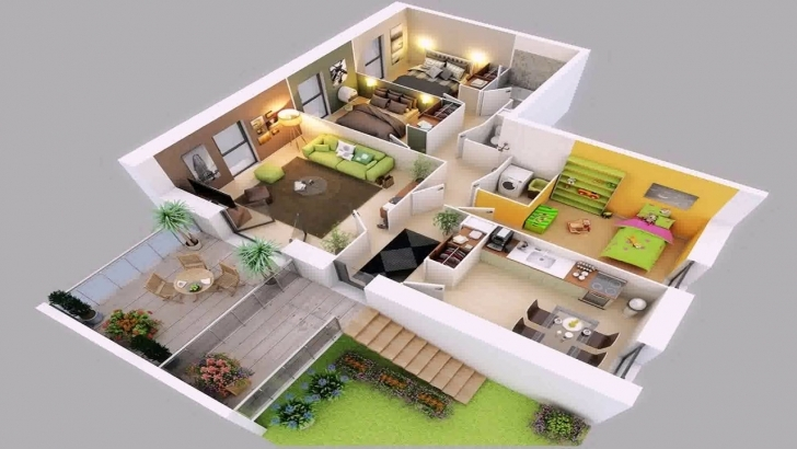 Classy 4 Bedroom House Plans 2 Story 3D - Youtube 2 Storey House Plan 3D Image