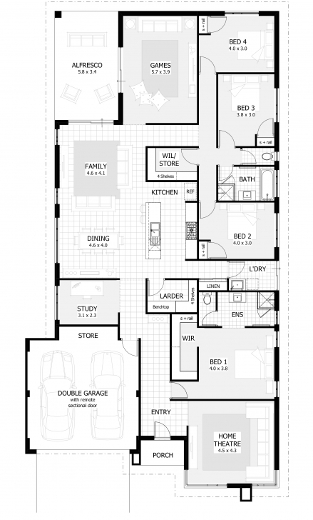 Classy 4 Bedroom House Plans & Home Designs | Celebration Homes Four Bedroom Flat Plan Photo
