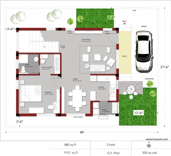 Classy Architectures : Sq Ft Duplex House Plans N Style Homeminimalis Com 1500 Sq Ft House Plan With Car Parking Image