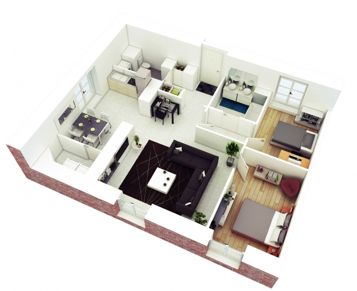 Classy Breathtaking Small 2 Bedroom House Floor Plans Pics Design Simple House Plan With 2 Bedrooms And Garage 3D Picture