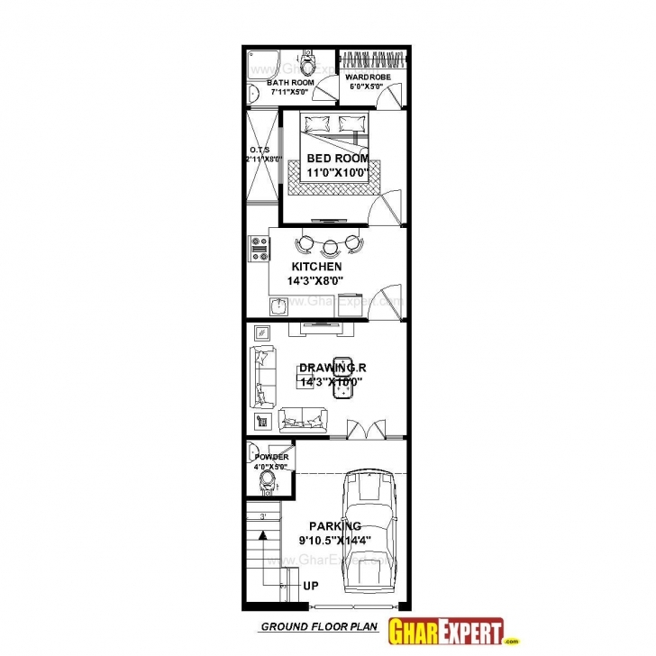 Classy House Plan For 15 Feet By 50 Feet Plot (Plot Size 83 Square Yards 15 By 60 House Map 3D Pic
