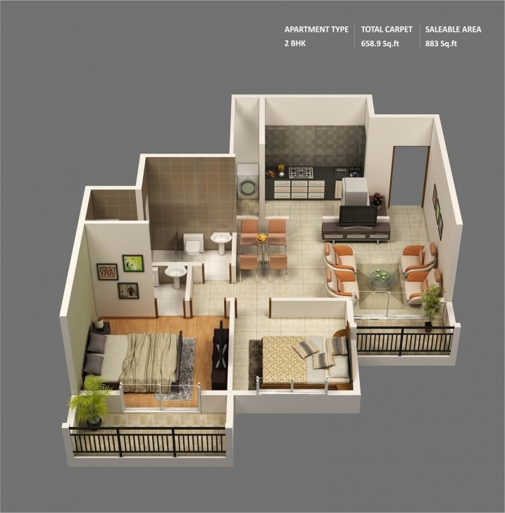 Classy Small 2 Bedroom House Plans And Designs Awesome Small 2 Bedroom 3D Images Of House Plans Inside And Outside Image