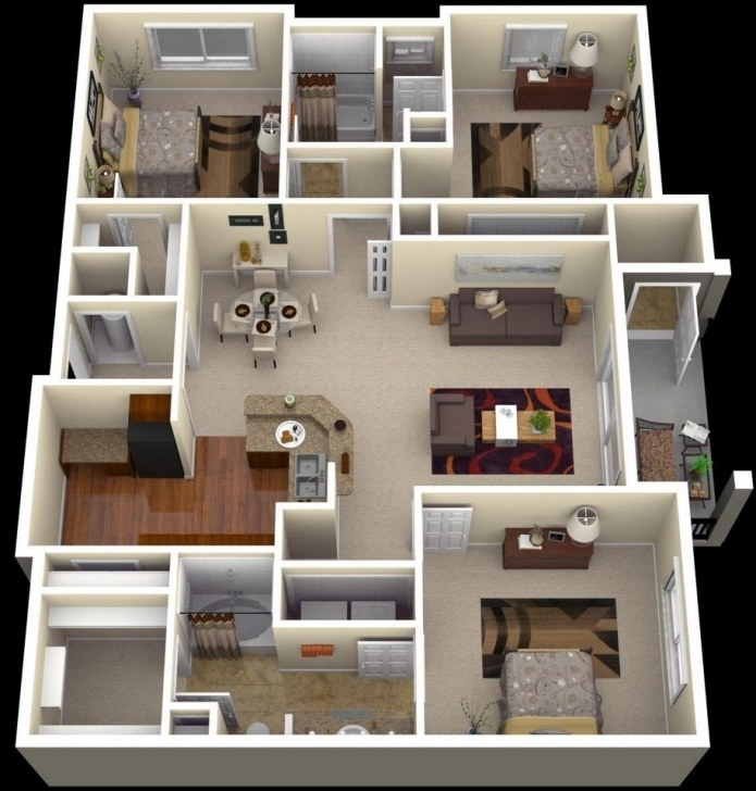 """Cool 50 Three """"3"""" Bedroom Apartment/house Plans 