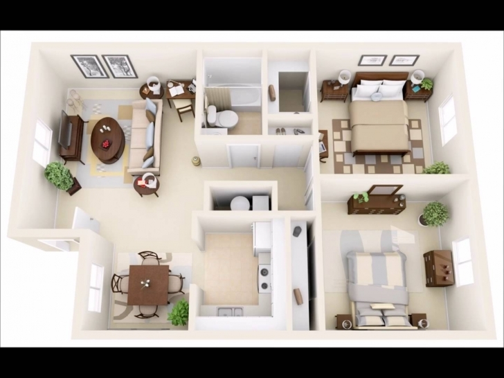 Cool 50 Two Bedroom Apartment(House) Plans In 3D Perspective - Youtube 15*50 House Map 3D Photo