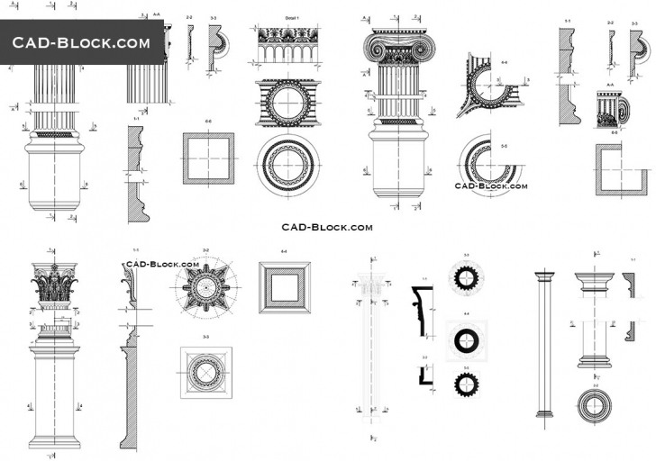 Cool Classical Architectural Orders Cad Blocks, Autocad Drawings Free Architecture Autocad Drawing Image