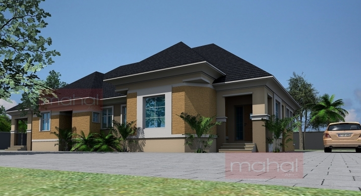 Cool Contemporary Nigerian Residential Architecture: 4 Bedroom Bungalow + 4 Bedroom Flat Bungalow Plan Pic