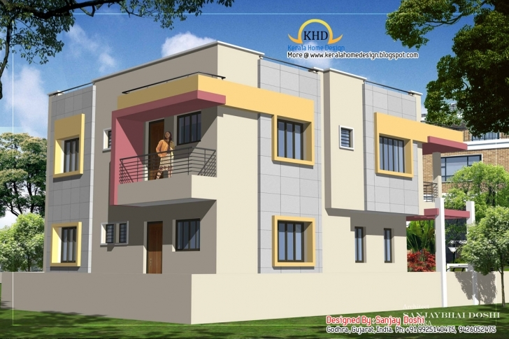 Cool Duplex House Plan Elevation Kerala Home Design - Home Plans Best Plan With Elevation For Small Area Image