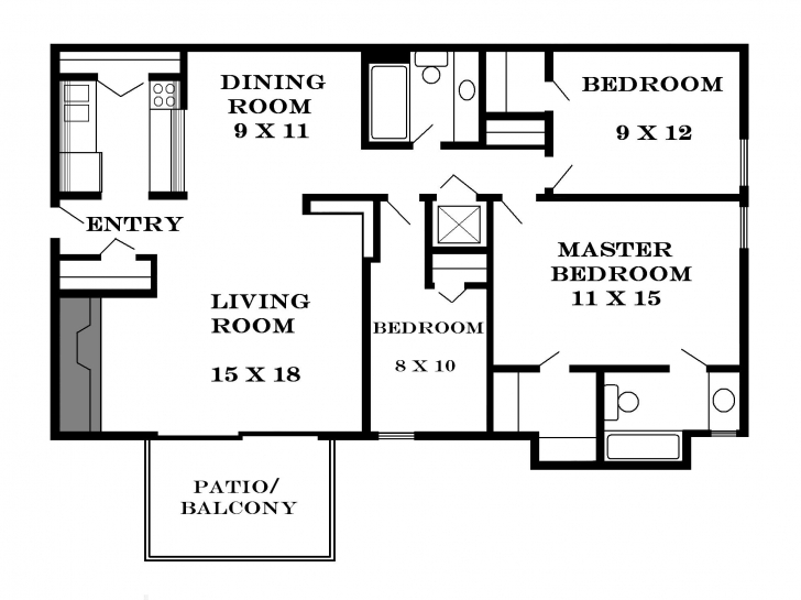 Cool Modern 3 Bedroom House Plans Inspirations — Modern House Plan 3 Bedroom Bungalow Floor Plan With Dimensions Picture