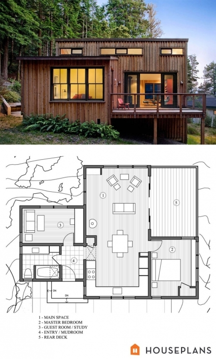 Cool Modern Style House Plan - 2 Beds 1 Baths 840 Sq/ft Plan #891-3 Simple House Plan With 2 Bedrooms In 800Sft Pic