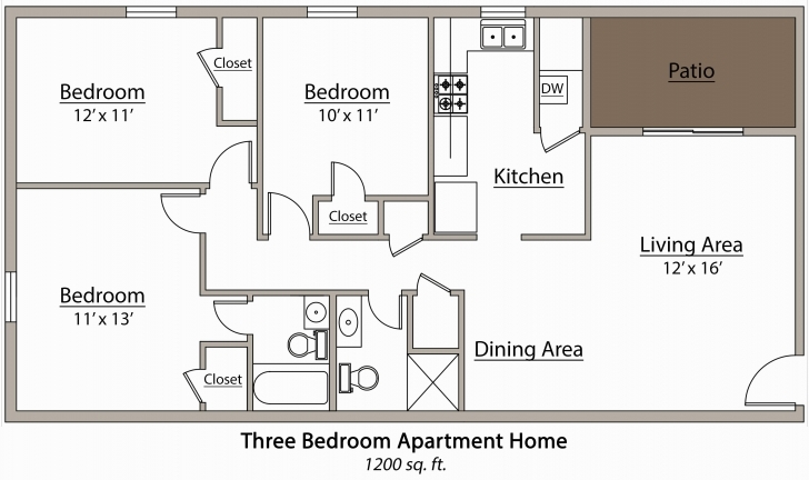 Cool More 5 Cute House Plan For Three Bedroom Flat Floor Plan Of 3 3 Bedroom Flat Plan Drawing Picture