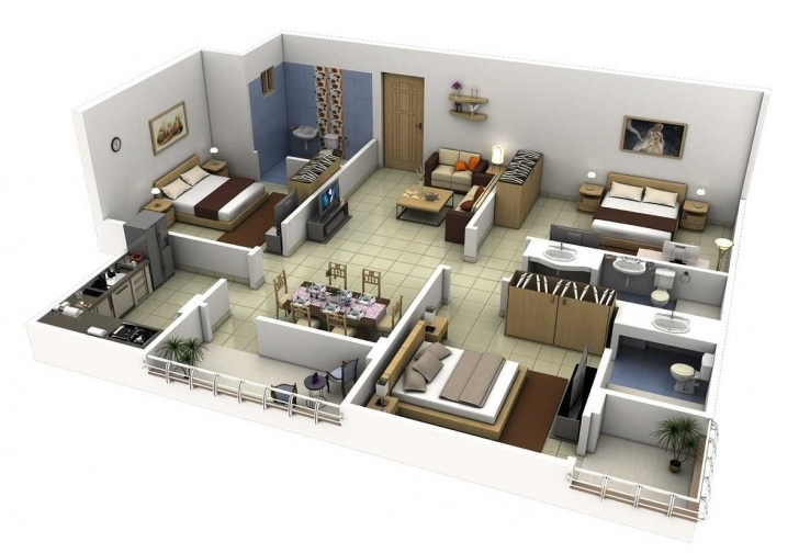 Cool Outstanding A Modern 3 Bedrooms House Plan Also Bedroom Plans Modern 3 Bedroom Building Plan Picture
