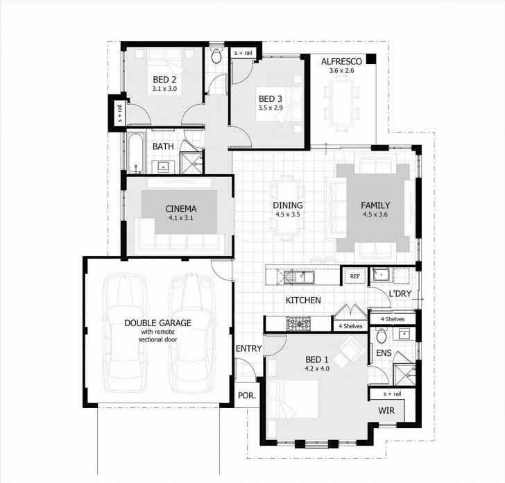 Cool Simple 3 Bedroom House Plans Without Garage Lovely | Theworkbench Simple 4 Bedroom House Plans Without Garage Photo