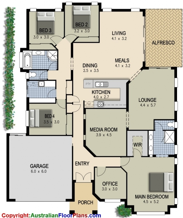 Cool Simple 4 Bedroom House Designs Ranch House Floor Plans 4 Alluring 4 4 Bedroom Modern House Plans Pic