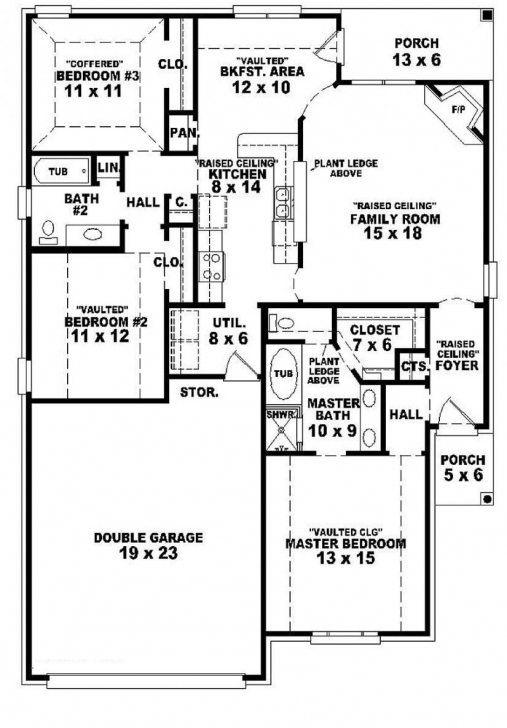 Cool Single Story House Plans 2 | For The Home | Pinterest | Story House 3 Bedroom House Floor Plans Single Story Image